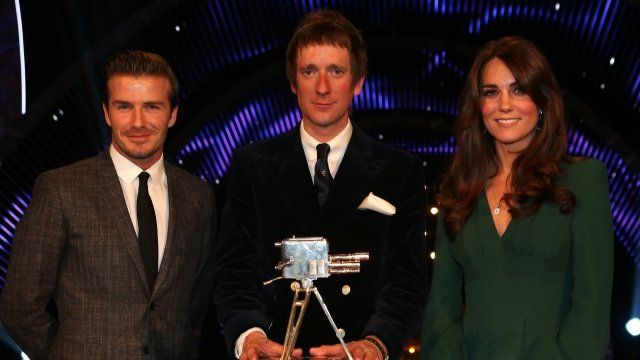 Bradley Wiggins with David Beckham and the Duchess of Cambridge