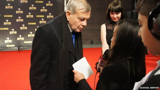 Dickie Bird answers School Report's first questions on the red carpet