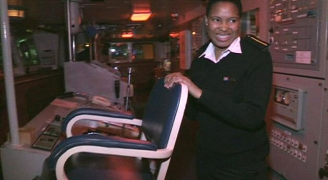 Female African sea cadet smiling