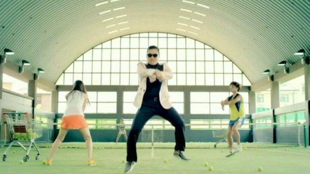 Psy dancing in Gangnam Style video