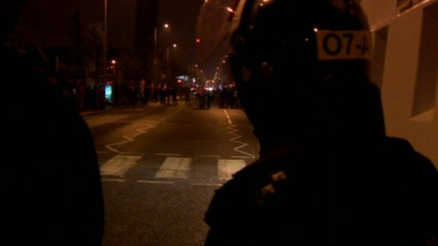 Riot police on Belfast street