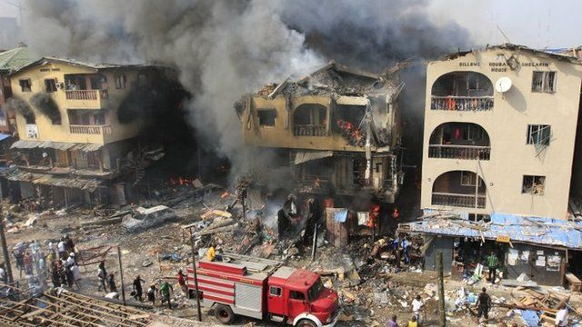 Warehouse on fire in Lagos, Nigeria