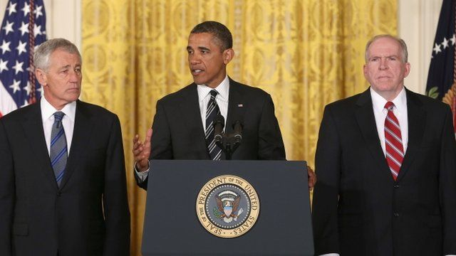 Defence secretary nominee Chuck Hagel, US President Barack Obama and John Brennan, nominee for the role of CIA director