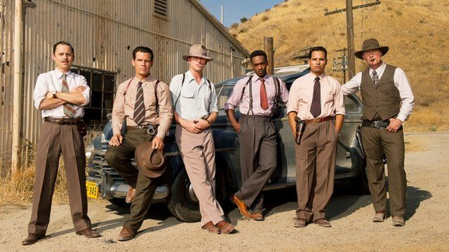 The all-star cast (L-R) Giovanni Ribisi, Josh Brolin, Ryan Gosling, Anthony Mackie and Michael Pena
