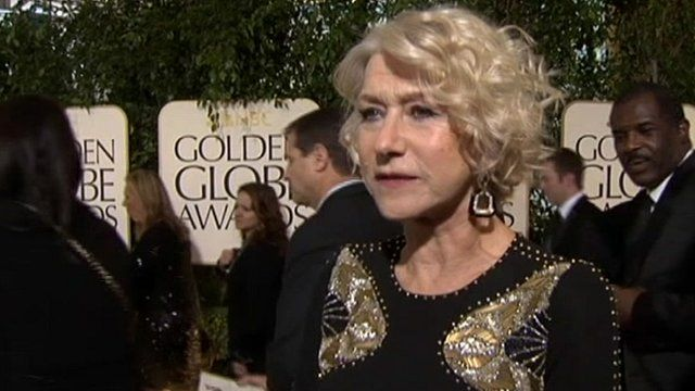 Dame Helen Mirren at the Golden Globes