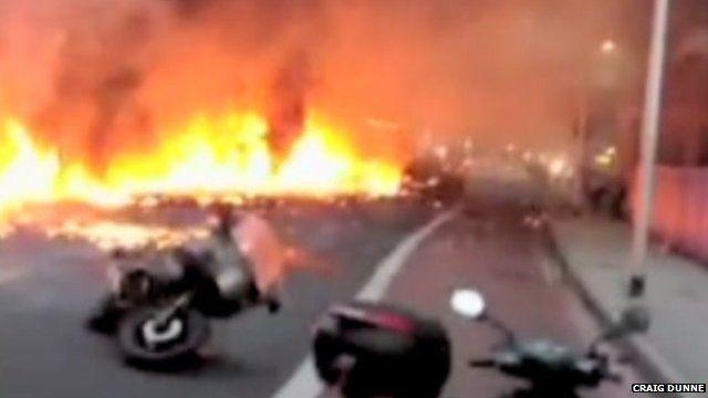 Burning wreckage