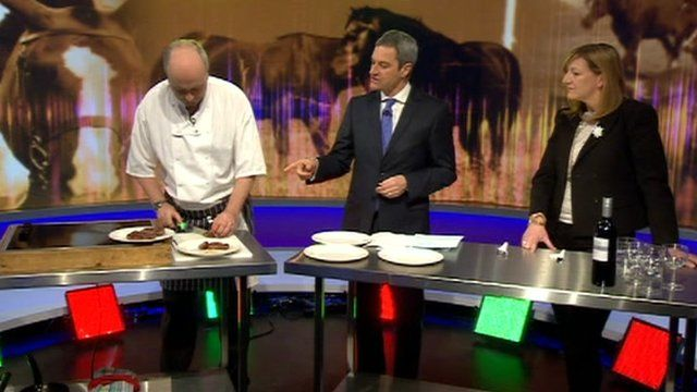 Chef Henry Harris cooks horse steak watched by Gavin Esler and food critic Rose Prince
