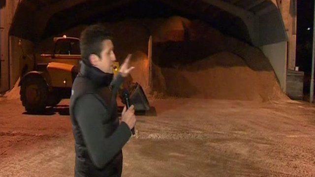 BBC reporter Jordan Davies at a council gritting yard