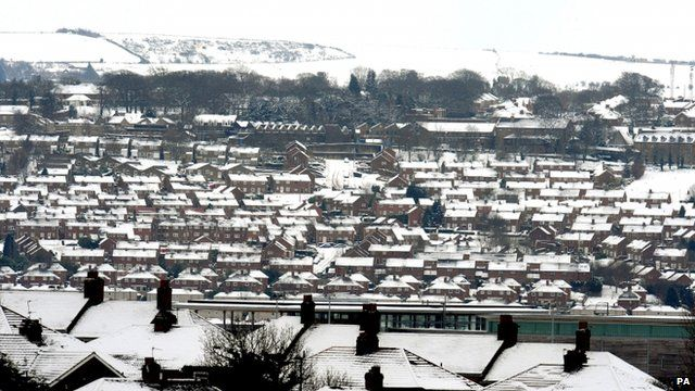 Snow covered rooftops over Blaydon in Newcastle