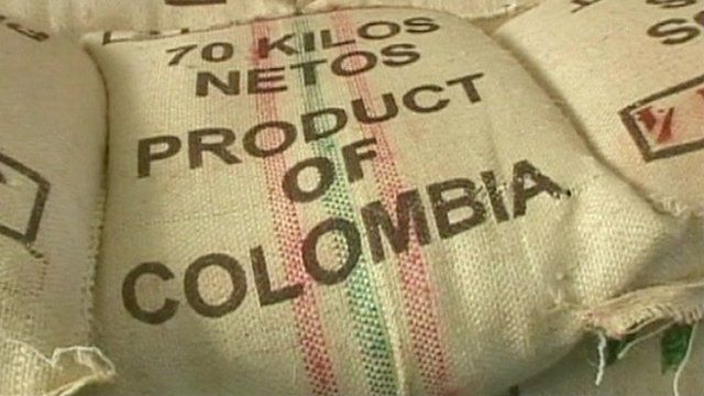 Sacks of Colombian coffee beans