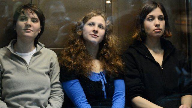Yekaterina Samutsevich, Maria Alyokhina and Nadezhda Tolokonnikova