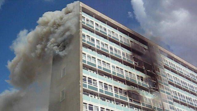 Lakanal House on fire