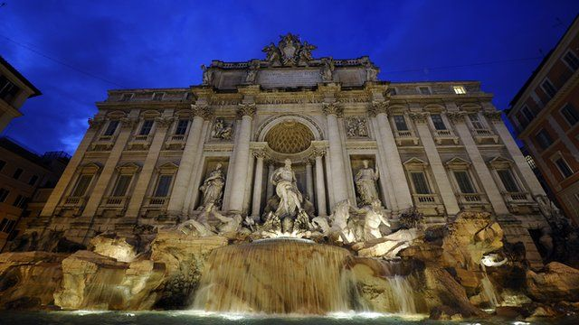 The Trevi Fountain in central Rome