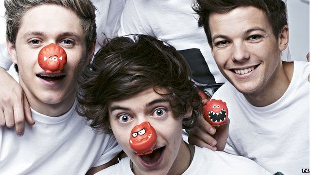 One Direction with red noses