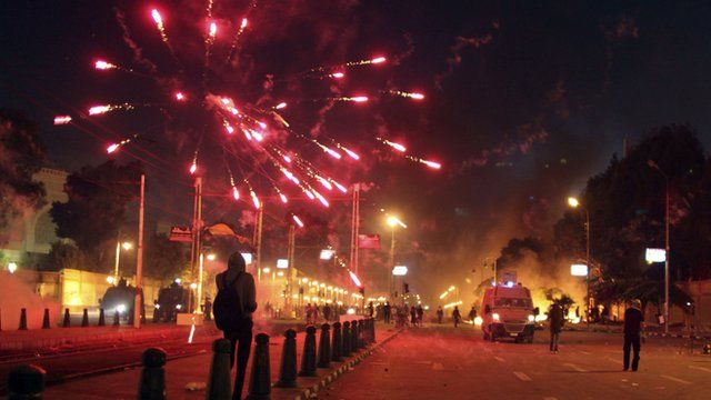 Fireworks thrown outside presidential palace in Cairo