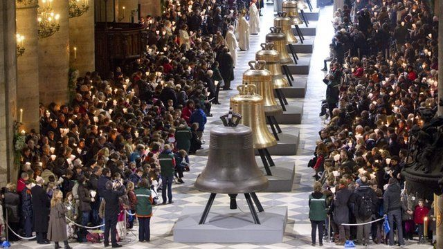 Eight new bronze bells of Notre-Dame de Paris Cathedral
