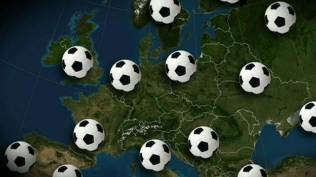 Map covered in footballs