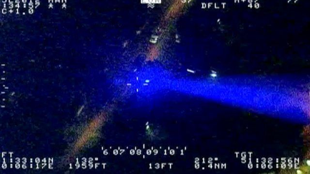 Police footage of a laser pen attack on an aircraft near Heathrow