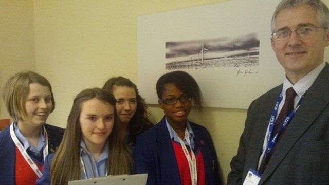 Matilda, Alana, Hope and Holly from St Joseph's Catholic College, Bradford with their headmaster Mr Heitzman