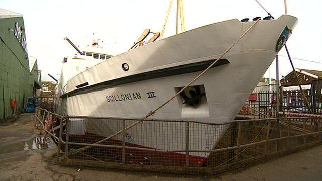 The Scillionian III in dry docks