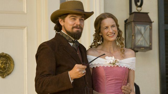 Leonardo DiCaprio and Laura Cayouette star in Django Unchained.