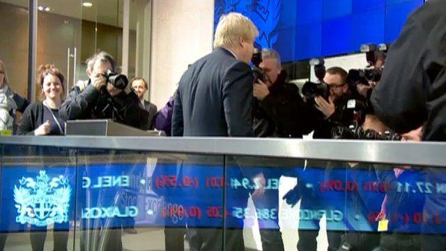 Boris Johnson opening trading at the London Stock Exchange on Tuesday