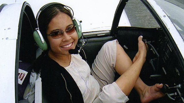 Jessica Cox in a cockpit