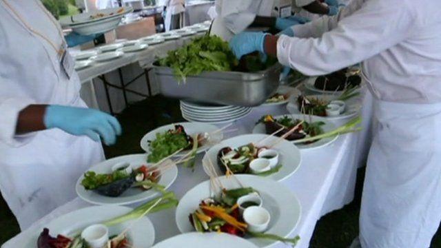Chef preparing vegetables