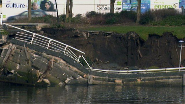 Collapsed quay wall