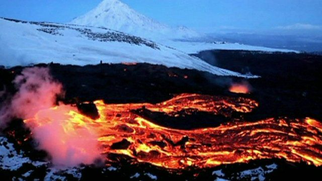 Lava from the Plosky Tolbachik volcano in East Russia