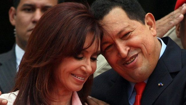 Venezuelan President Hugo Chavez embraces his Argentine counterpart Cristina Fernandez de Kirchner in March 2008