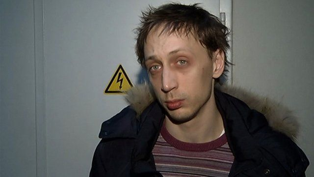 Ballet soloist Pavel Dmitrichenko after his arrest in Moscow