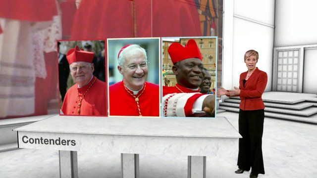 Philippa Thomas with some of the possible future popes