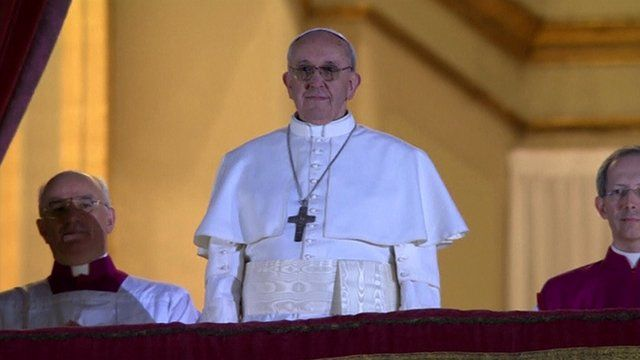 Pope Francis I on a balcony over St Peter's Square