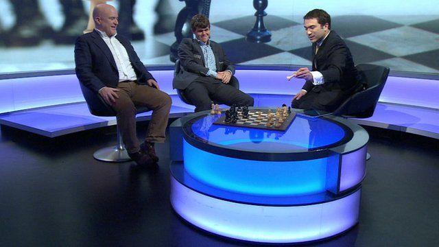 Ros Atkins plays chess against Magnus Carlsen