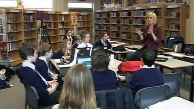 Students at Tupton Hall school speak to Steph McGovern