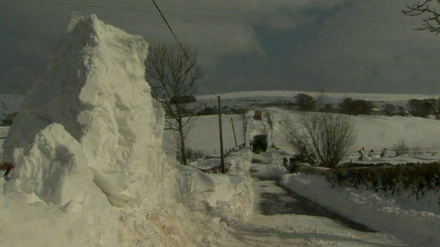 Road covered by snow in Northern Ireland