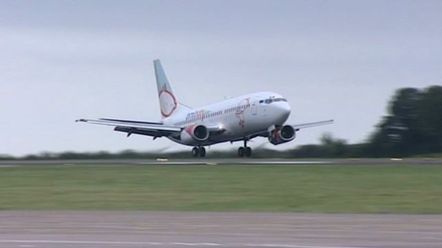 Plane landing at Cardiff airport
