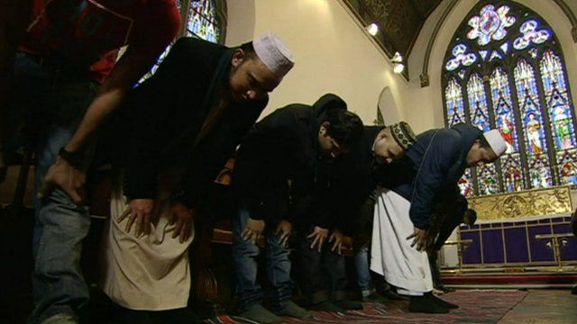 Muslisms in a church