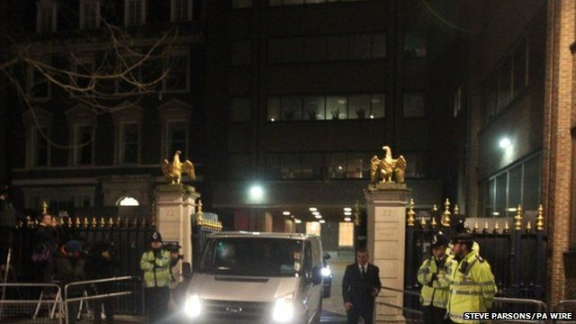 Lady Thatcher's body is removed from the Ritz, London
