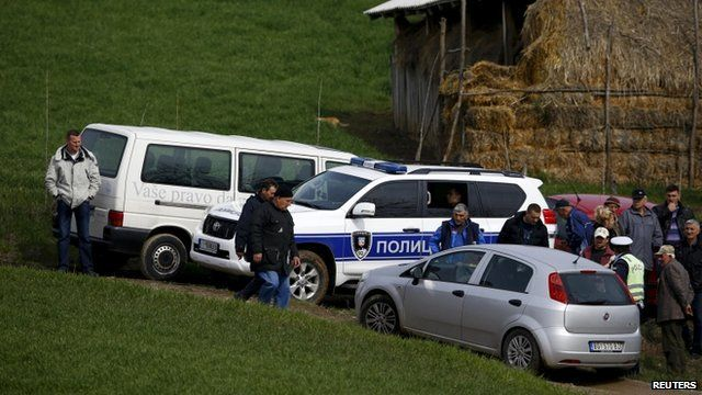 Police and residents in the Serbian village of Velika Ivanca
