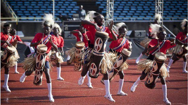 "Traditional drummers perform at the inauguration of Kenya""s President Uhuru Kenyatta in Kasarani,"