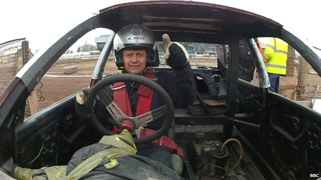 Mike Bushell in a banger racing car