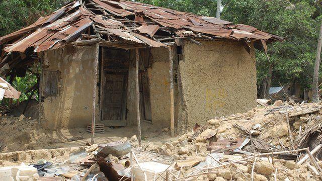 A damaged Liberian home