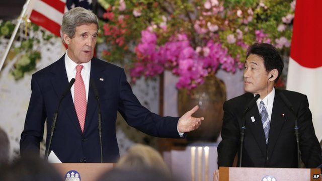 John Kerry and Fumio Kishida press conference
