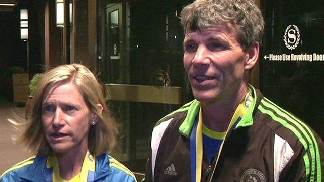 Marathon runners Cindy Hill and Michael Schlitt