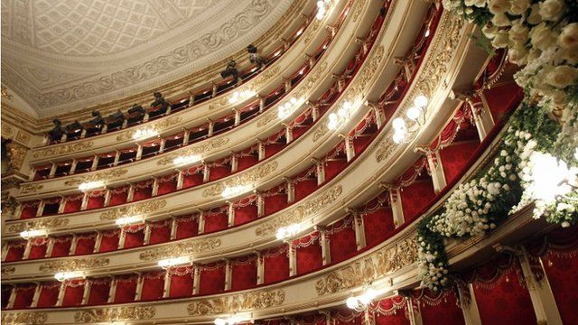 Interior La Scala opera house, Milan
