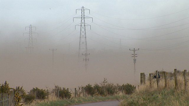 Sandstorm in a field
