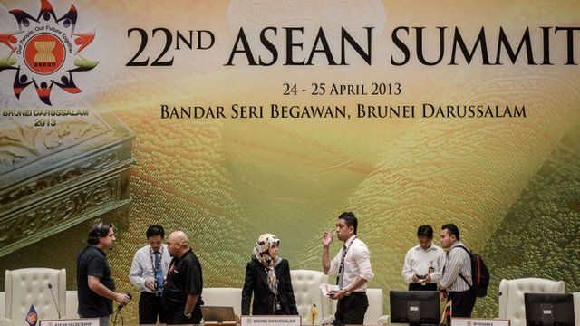 Delegates prepare for the Asean summit in Brunei