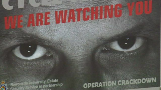 Newcastle University poster showing staring eyes